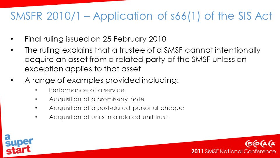 SMSFR 2010/1 – Application of s66(1) of the SIS Act