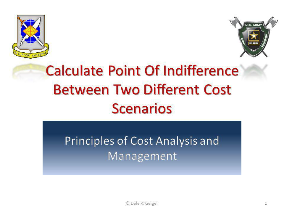 Calculate Point Of Indifference Between Two Different Cost Scenarios