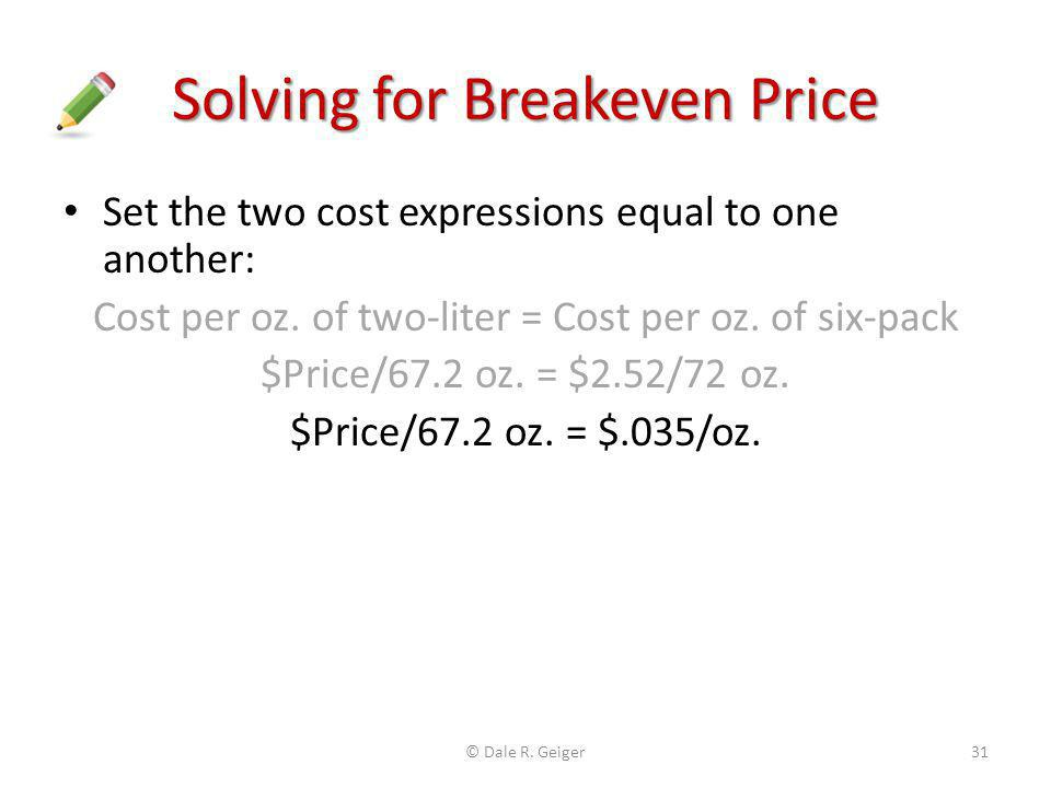 Solving for Breakeven Price
