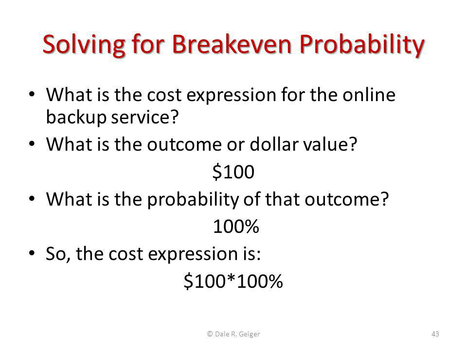 Solving for Breakeven Probability