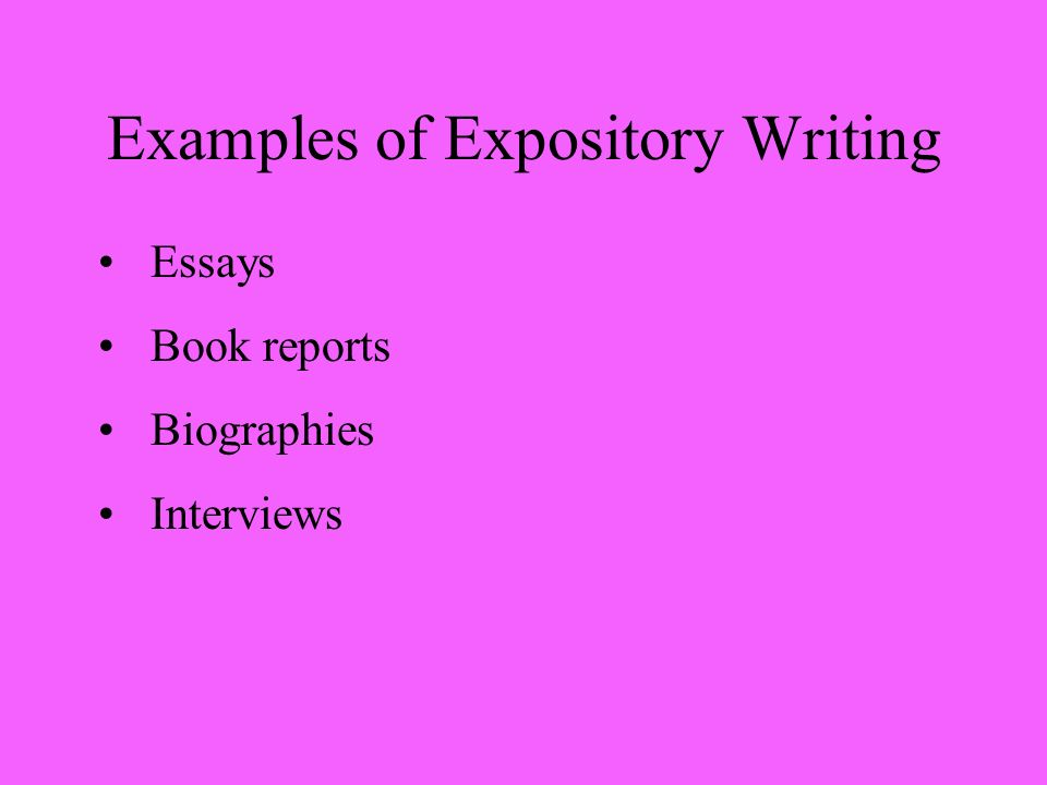 Examples of Expository Writing