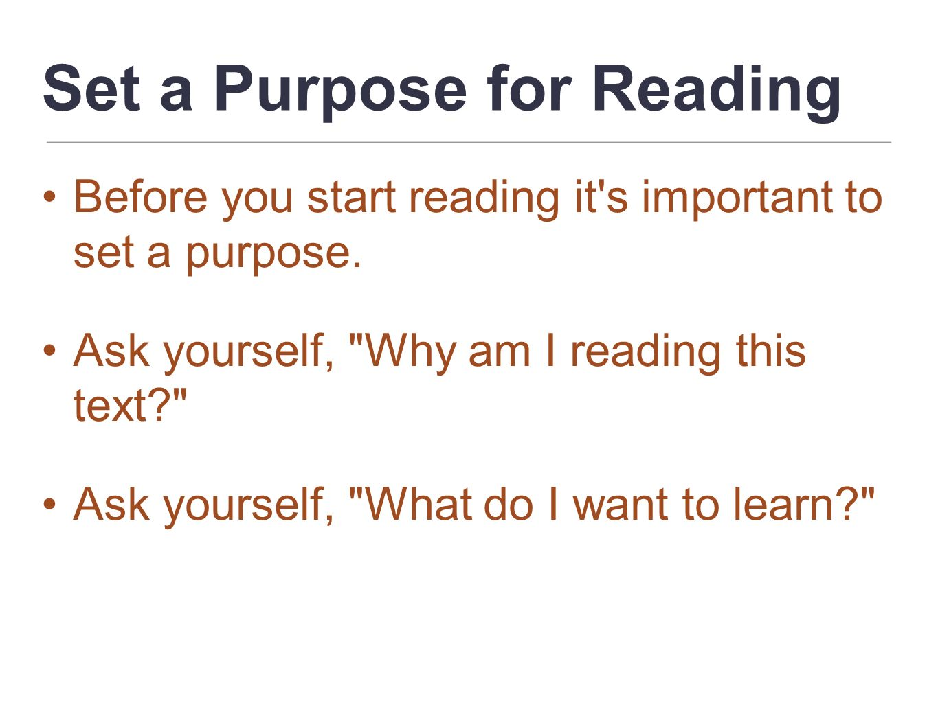 Set a Purpose for Reading