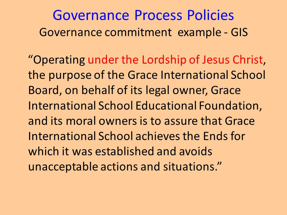Governance Process Policies Governance commitment example - GIS