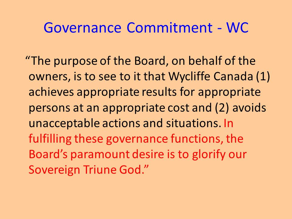 Governance Commitment - WC