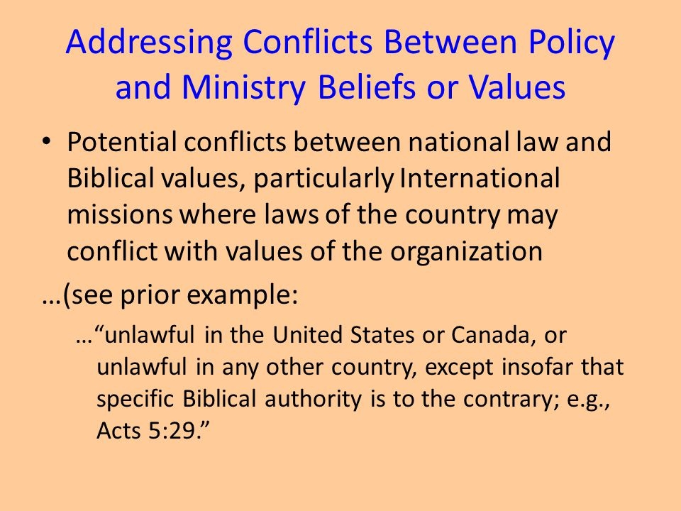 Addressing Conflicts Between Policy and Ministry Beliefs or Values