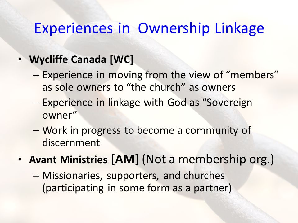 Experiences in Ownership Linkage