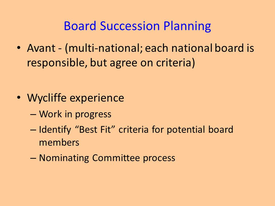 Board Succession Planning