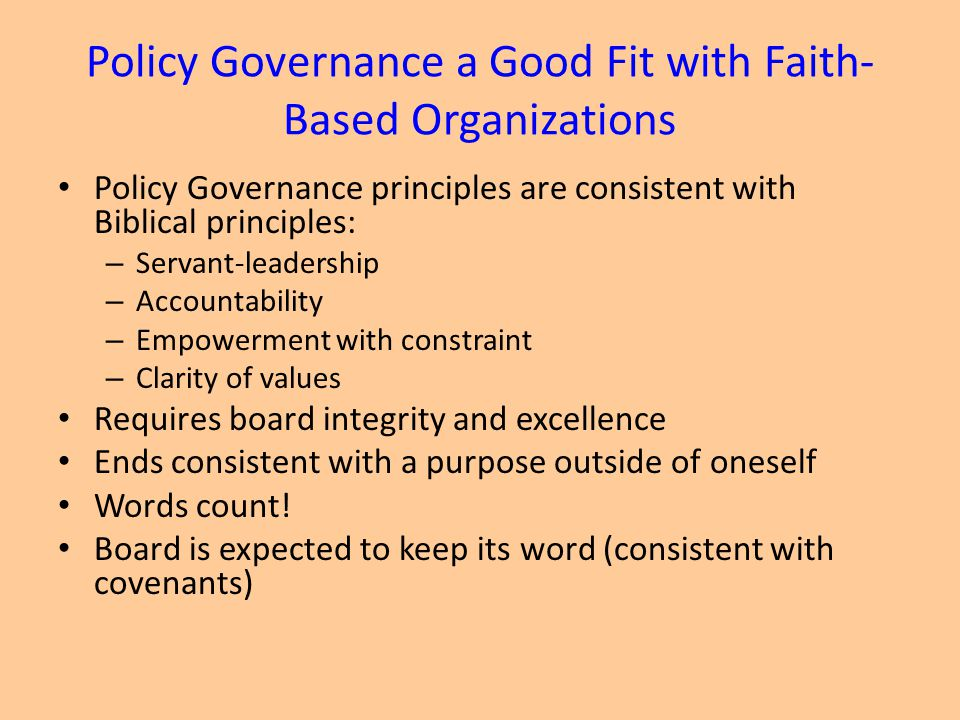 Policy Governance a Good Fit with Faith-Based Organizations