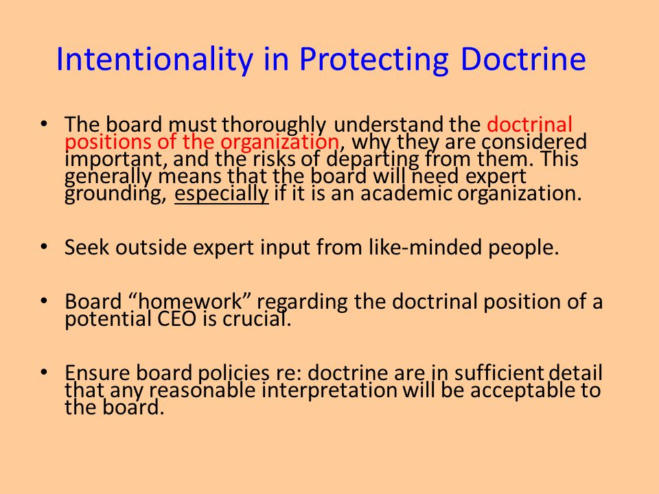 Intentionality in Protecting Doctrine