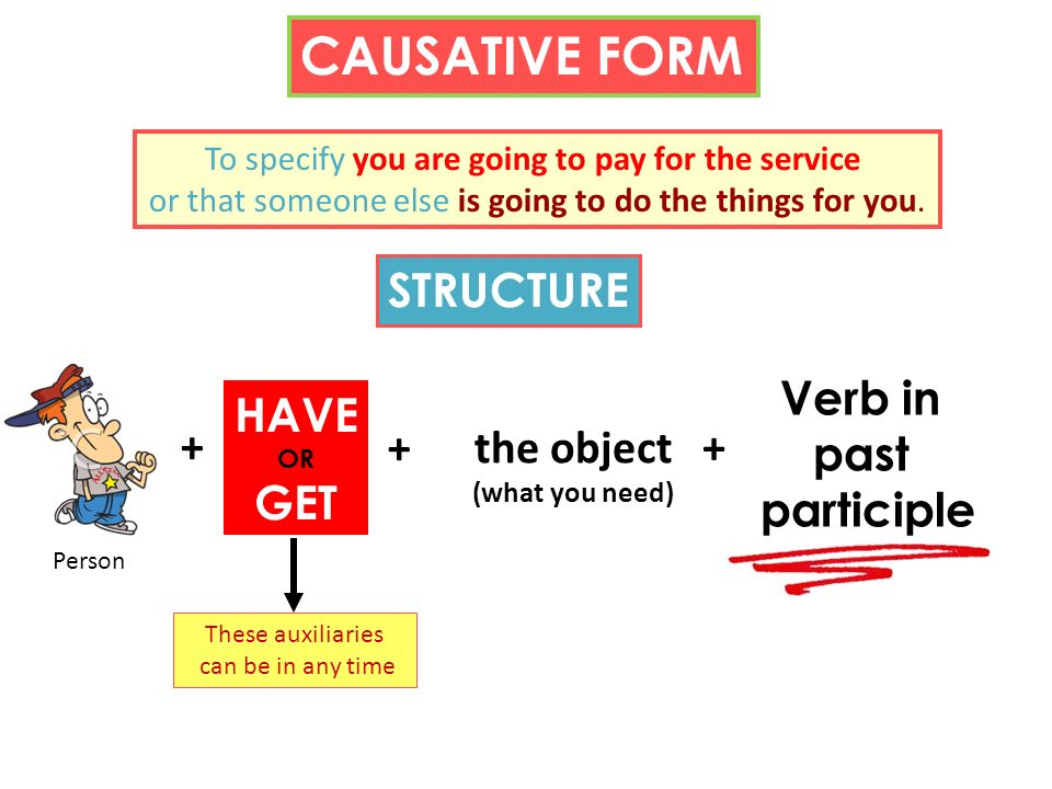 CAUSATIVE FORM STRUCTURE Verb in past participle HAVE GET + +