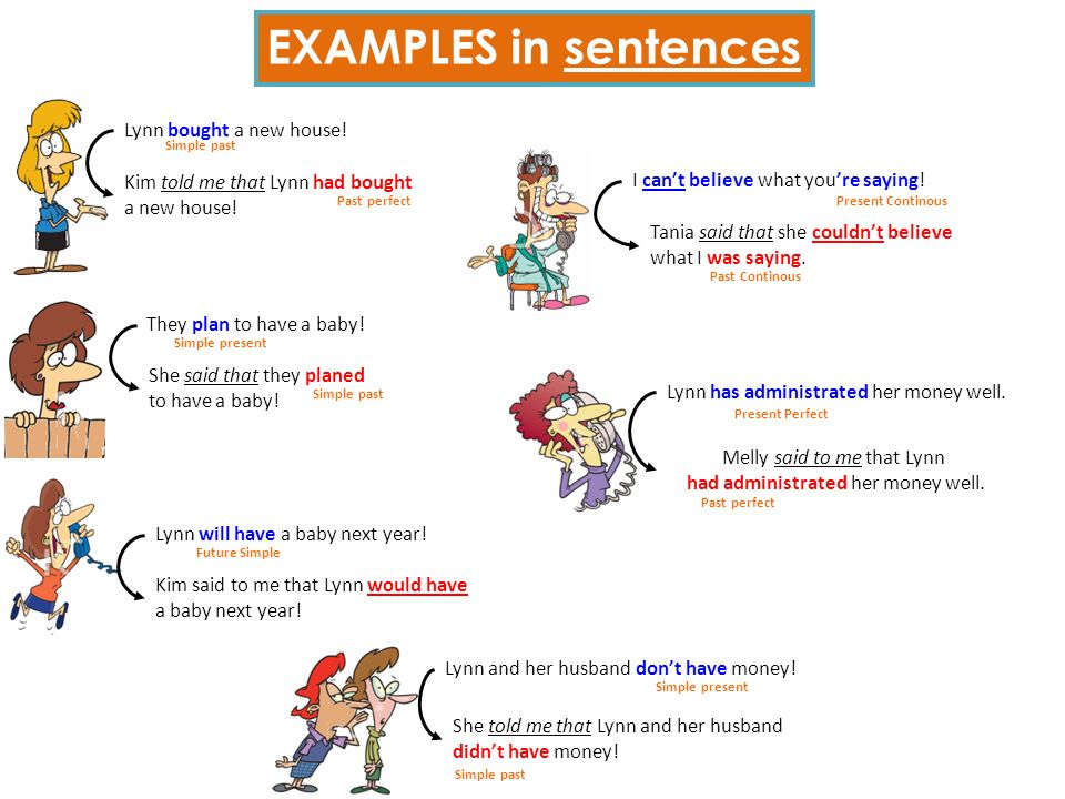 EXAMPLES in sentences Lynn bought a new house!