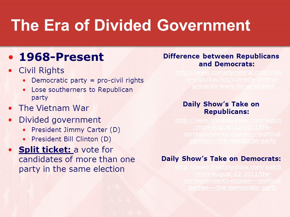 The Era of Divided Government