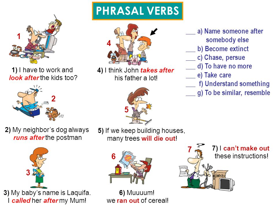 PHRASAL VERBS 1 4 2 5 7 6 3 ___ a) Name someone after somebody else