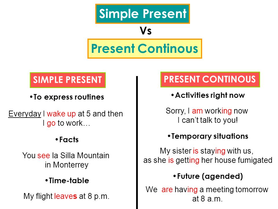 Simple Present Present Continous Vs SIMPLE PRESENT PRESENT CONTINOUS