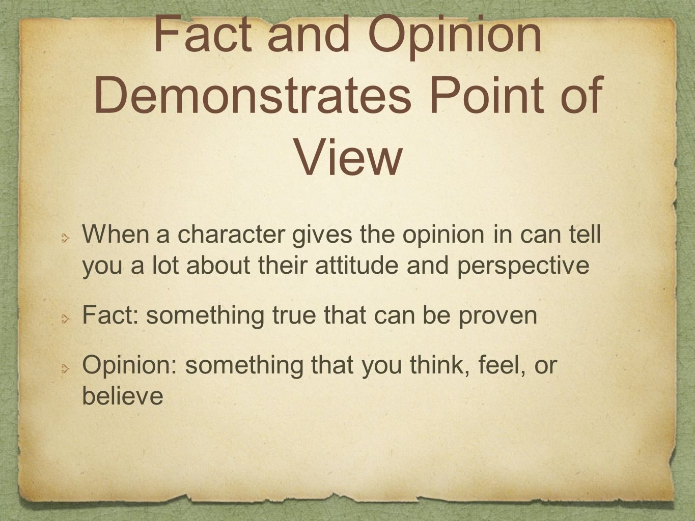 Fact and Opinion Demonstrates Point of View