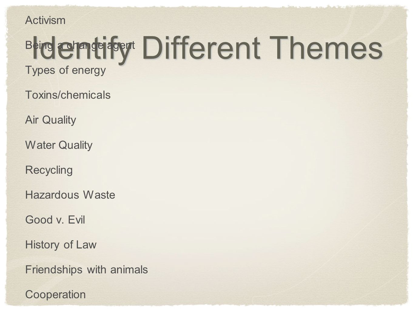 Identify Different Themes