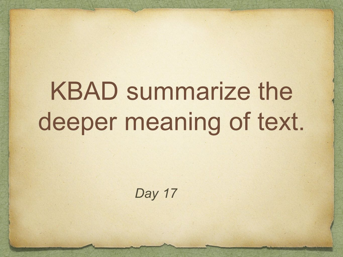 KBAD summarize the deeper meaning of text.