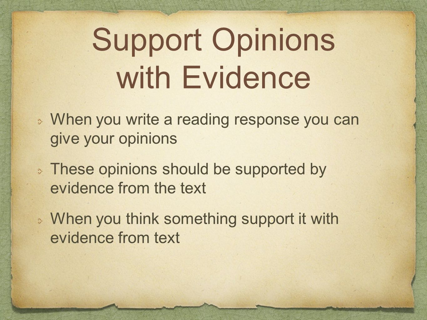 Support Opinions with Evidence
