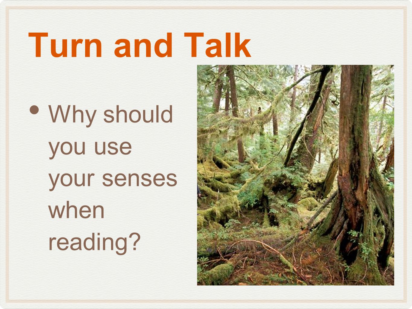 Turn and Talk Why should you use your senses when reading