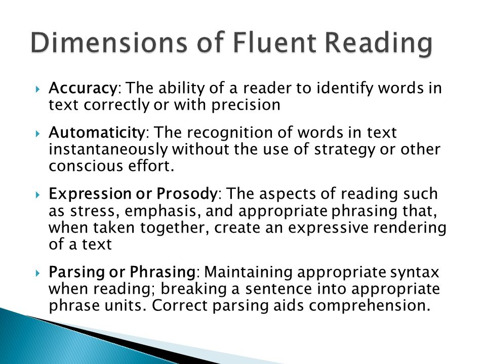 Dimensions of Fluent Reading