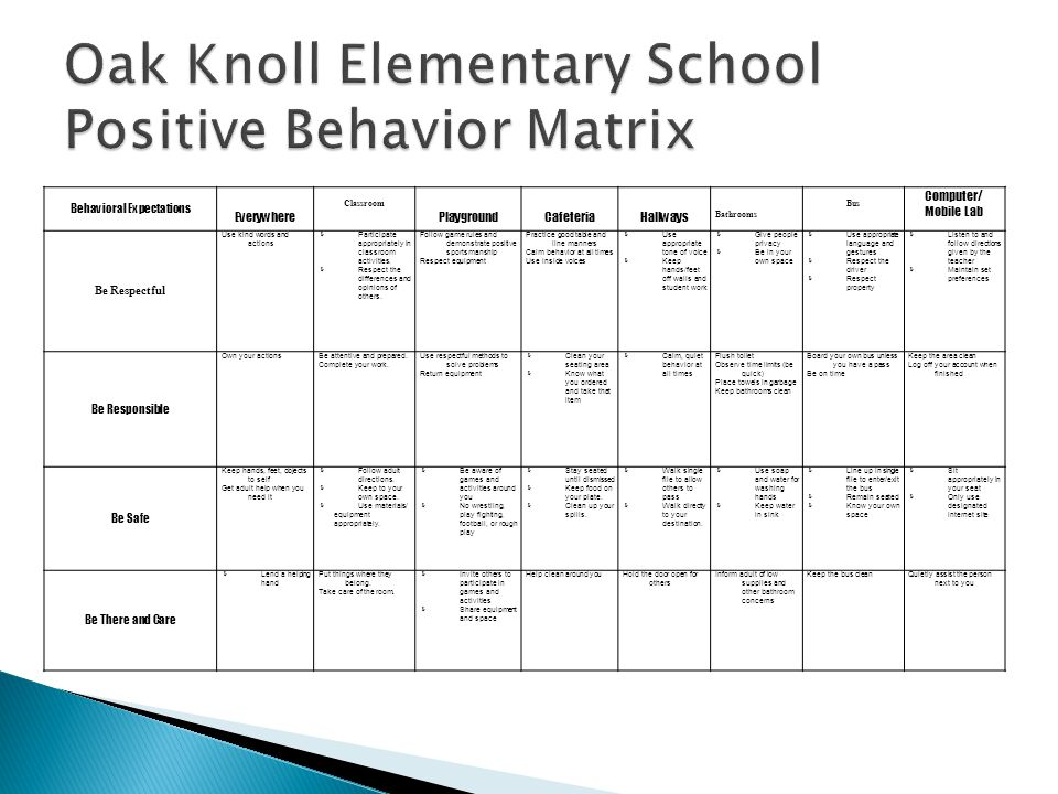 Oak Knoll Elementary School Positive Behavior Matrix