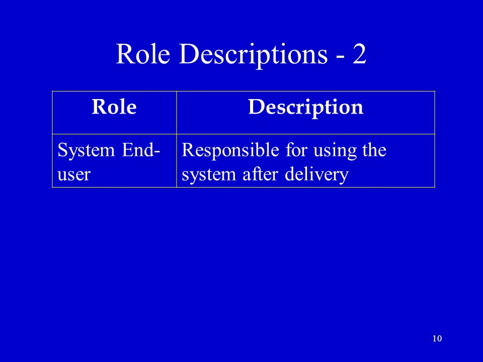 Role Descriptions - 2 Role Description System End-user