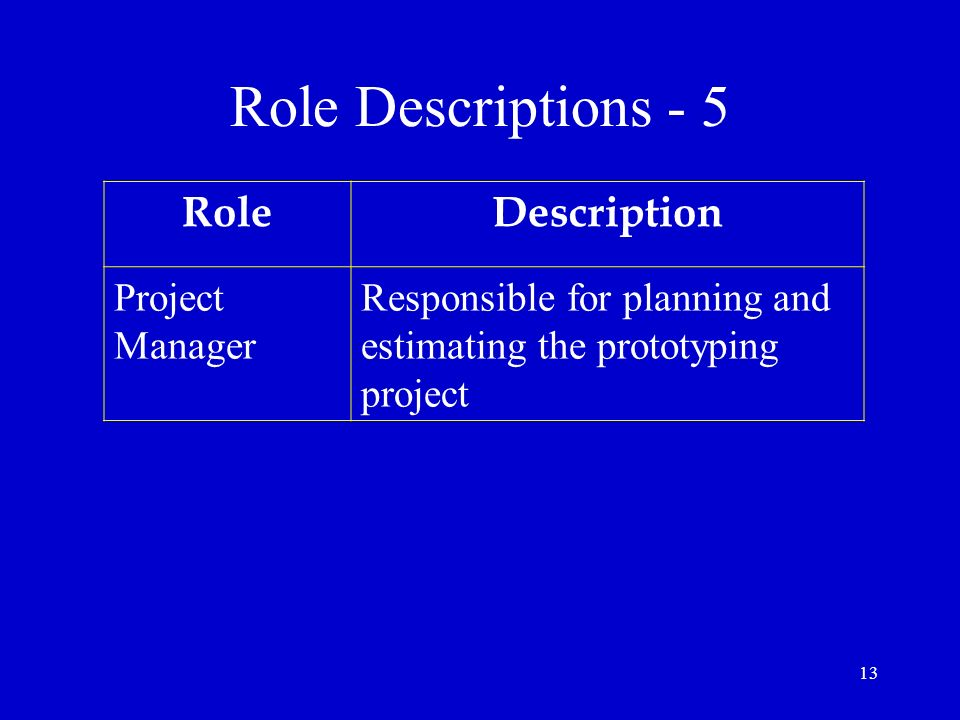 Role Descriptions - 5 Role Description Project Manager