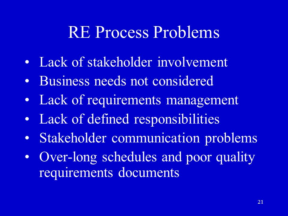 RE Process Problems Lack of stakeholder involvement