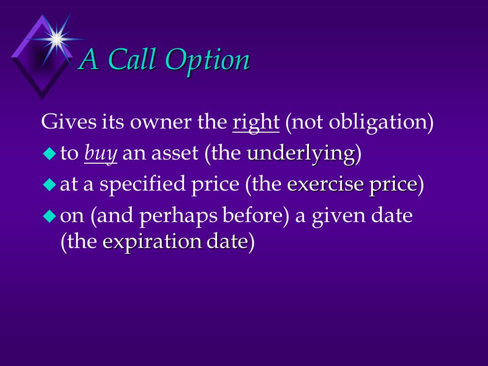A Call Option Gives its owner the right (not obligation)