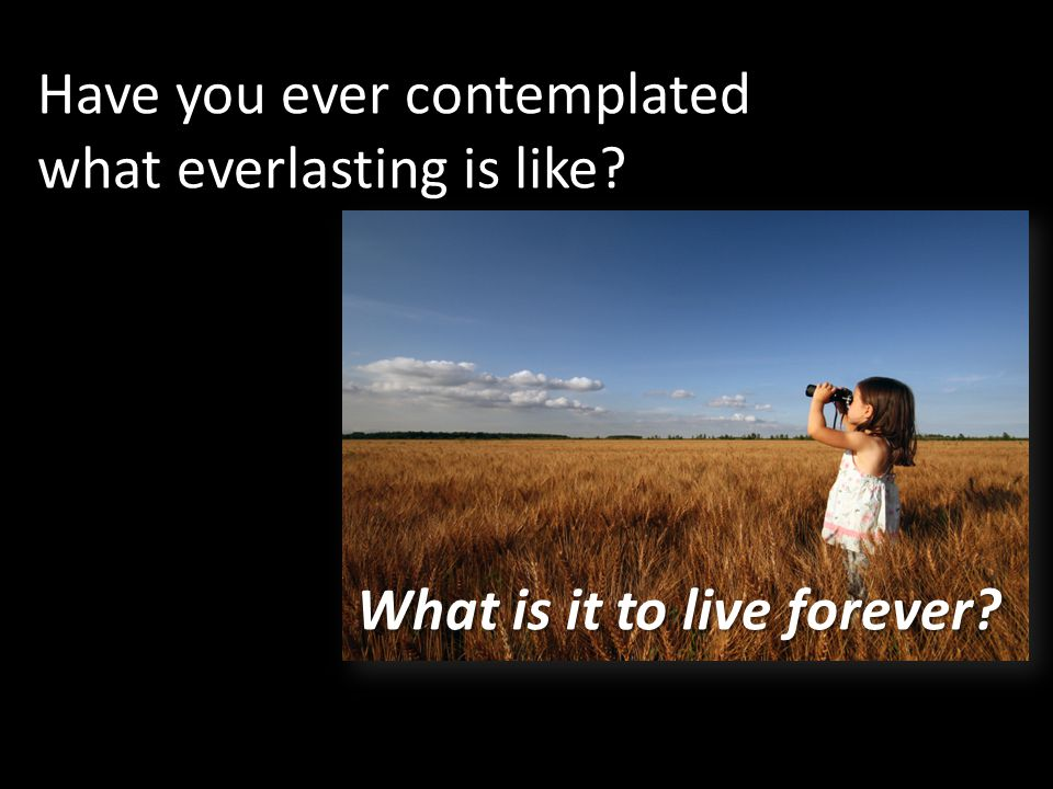 Have you ever contemplated what everlasting is like