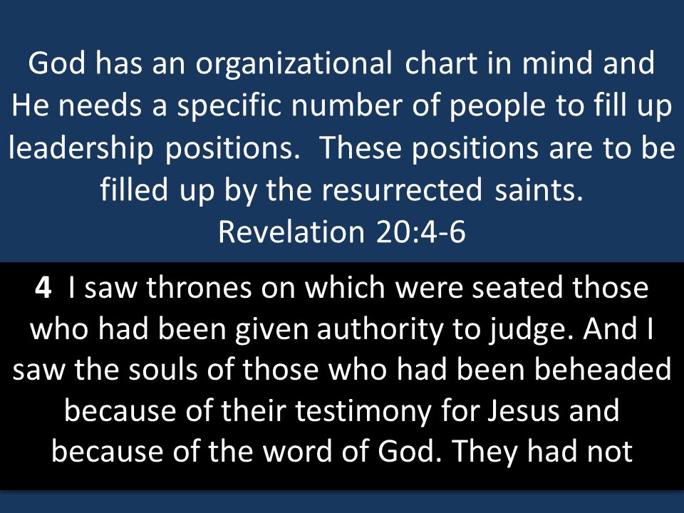 God has an organizational chart in mind and He needs a specific number of people to fill up leadership positions. These positions are to be filled up by the resurrected saints. Revelation 20:4-6