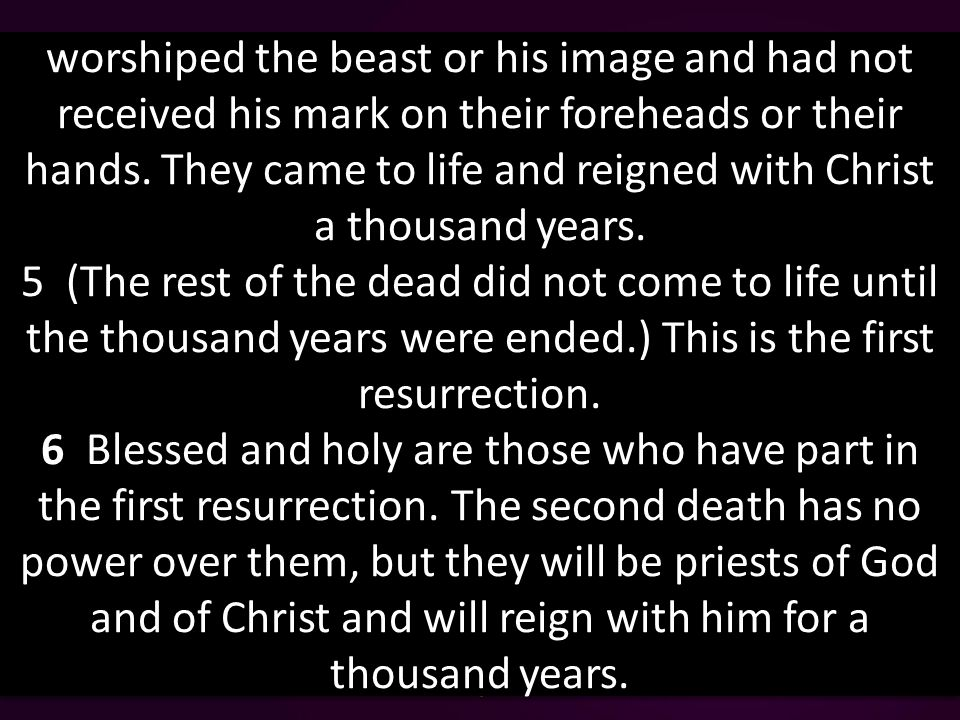 worshiped the beast or his image and had not received his mark on their foreheads or their hands.
