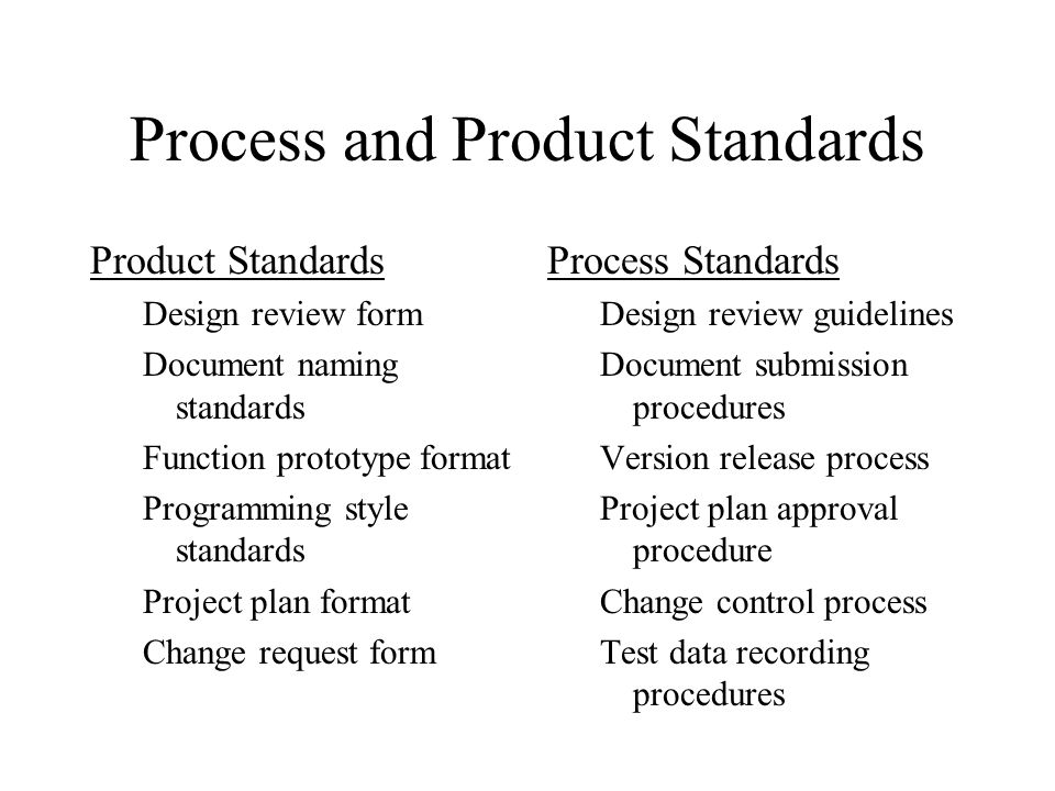 Process and Product Standards