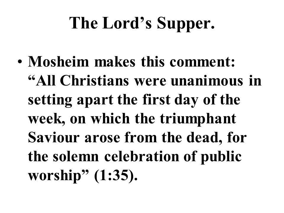 The Lord's Supper.