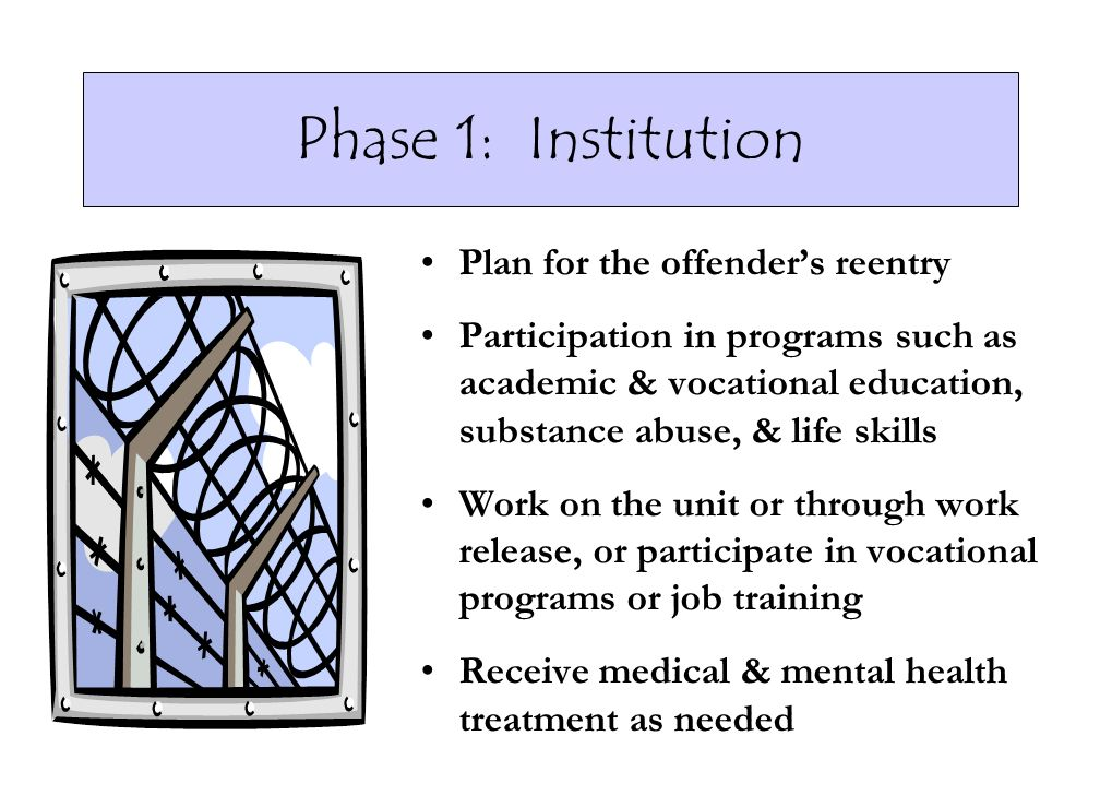 Phase 1: Institution Plan for the offender's reentry