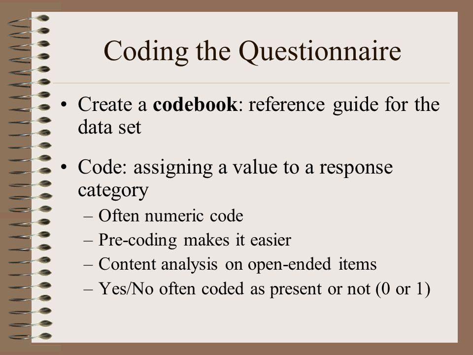 Coding the Questionnaire