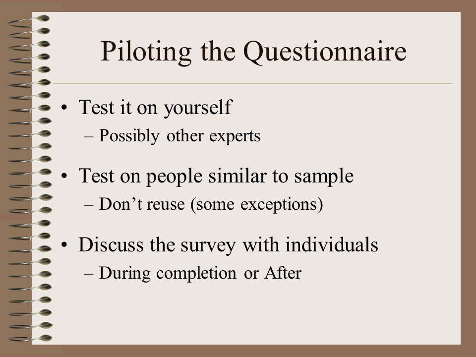 Piloting the Questionnaire
