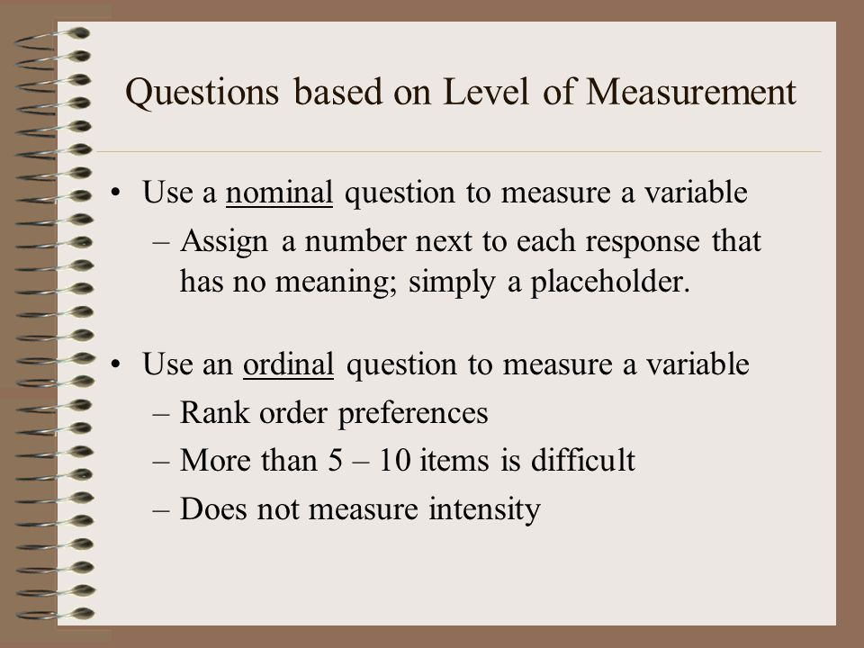 Questions based on Level of Measurement