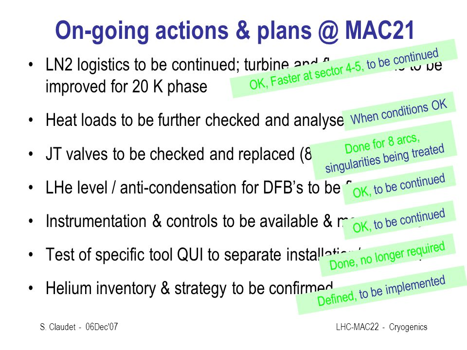 On-going actions & plans @ MAC21