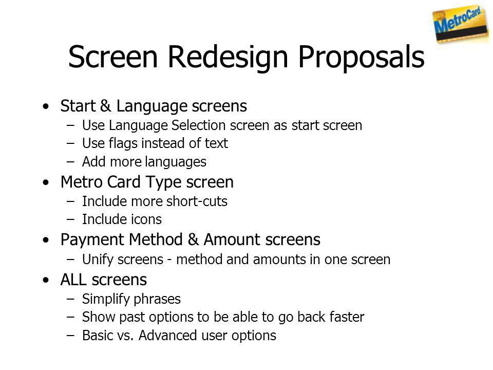 Screen Redesign Proposals