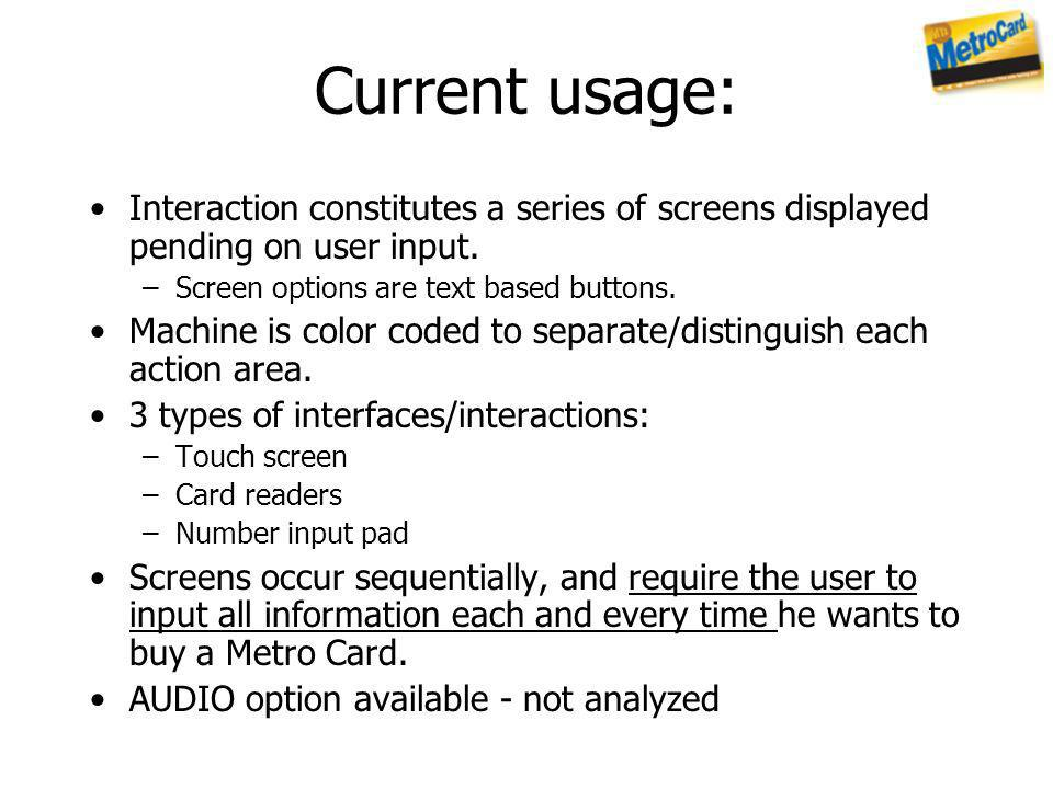 Current usage: Interaction constitutes a series of screens displayed pending on user input. Screen options are text based buttons.