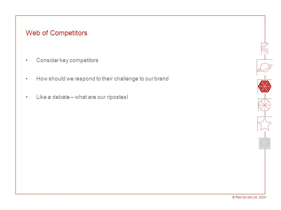 Web of Competitors Consider key competitors