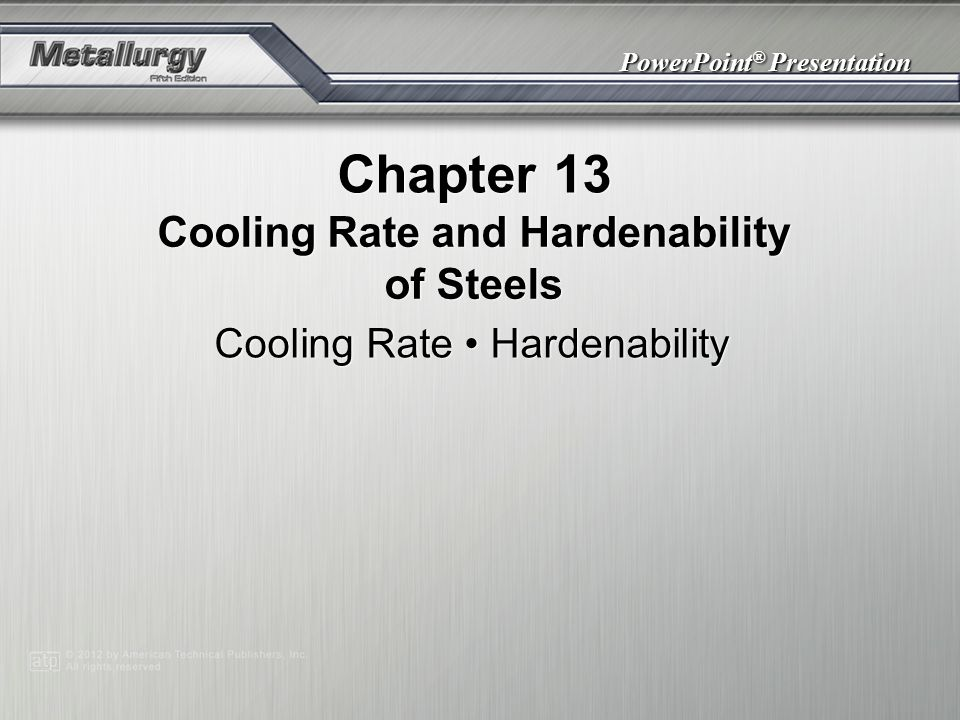 Cooling Rate and Hardenability of Steels