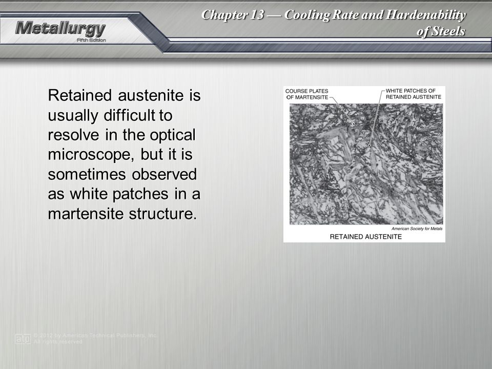 Retained austenite is usually difficult to resolve in the optical microscope, but it is sometimes observed as white patches in a martensite structure.
