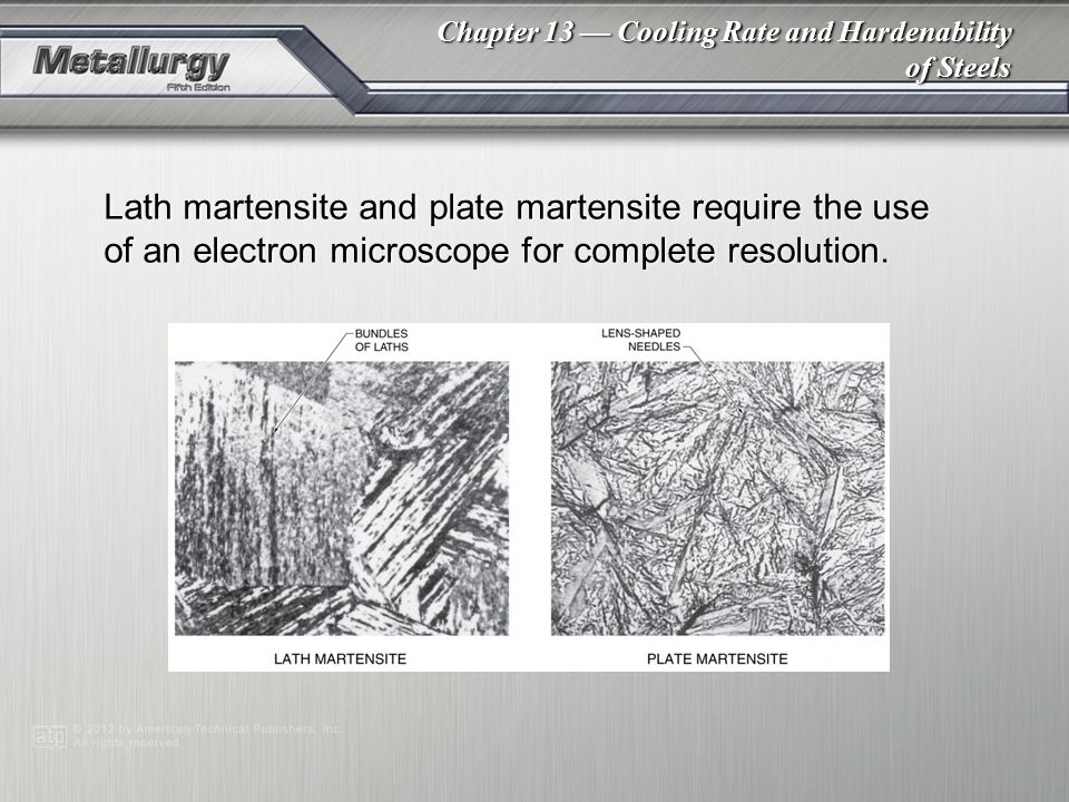 Lath martensite and plate martensite require the use of an electron microscope for complete resolution.