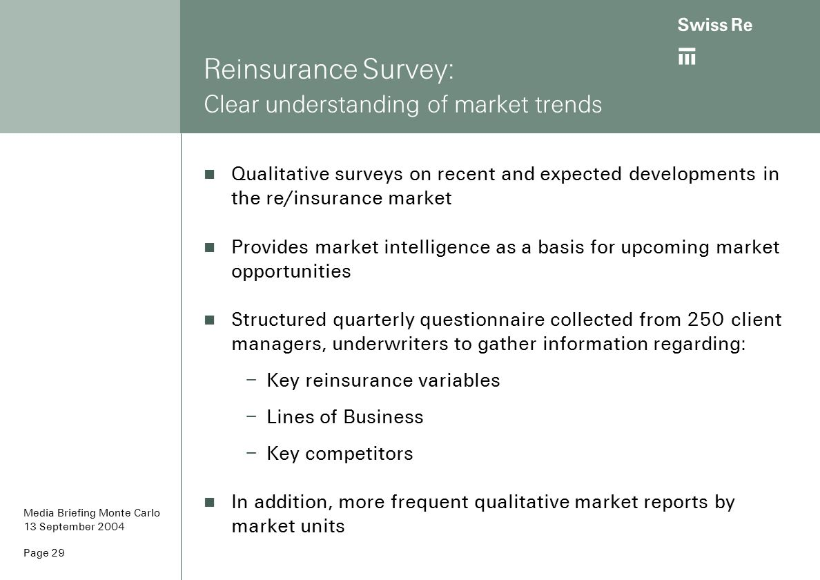 Reinsurance Survey: Clear understanding of market trends