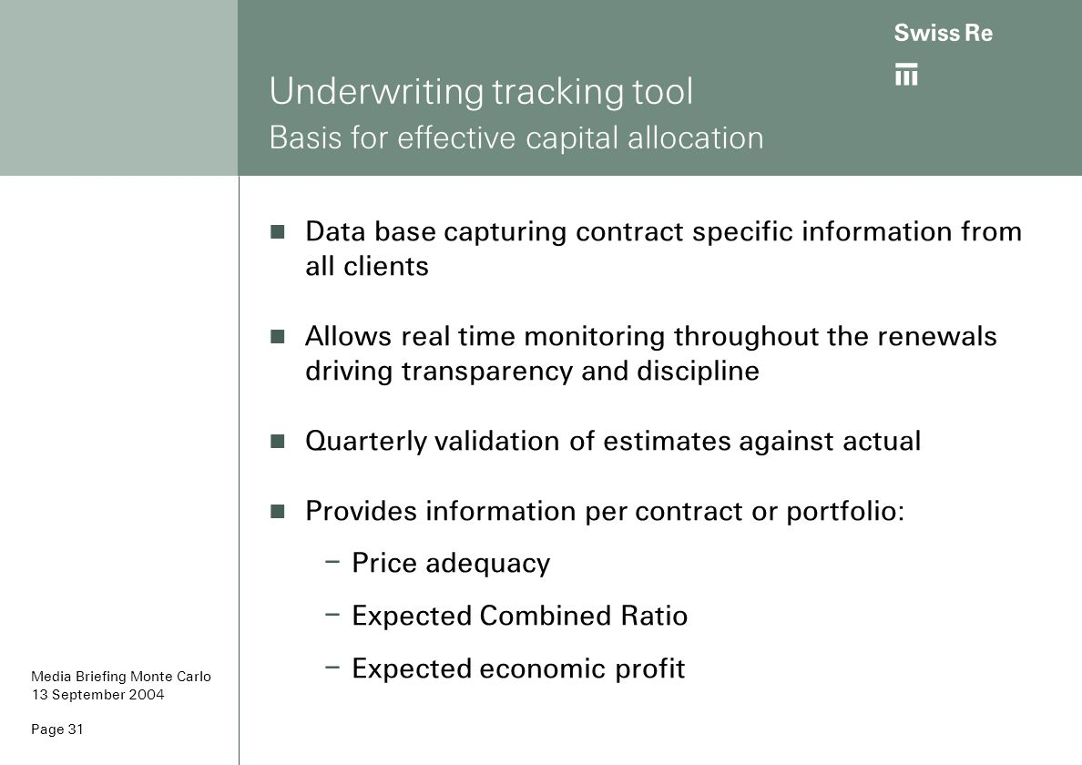 Underwriting tracking tool Basis for effective capital allocation