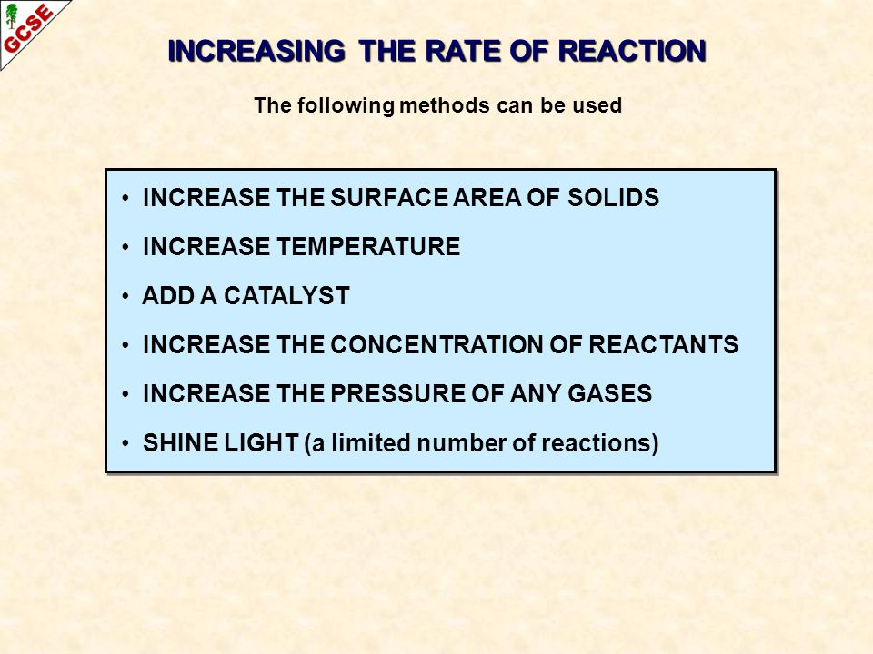 INCREASING THE RATE OF REACTION The following methods can be used