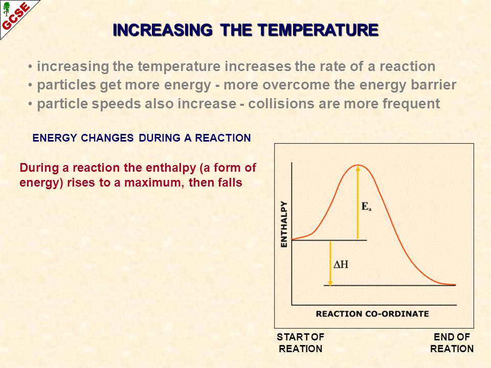 INCREASING THE TEMPERATURE ENERGY CHANGES DURING A REACTION
