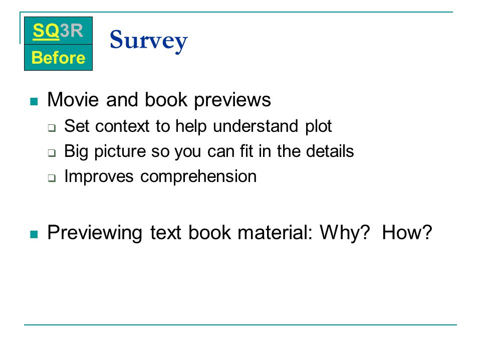 Survey Movie and book previews